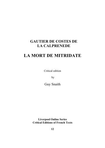 LA MORT DE MITRIDATE - University of Liverpool