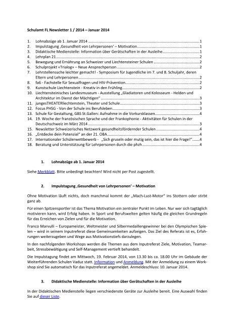 Schulamt FL Newsletter 5 / 2012 - August 2012