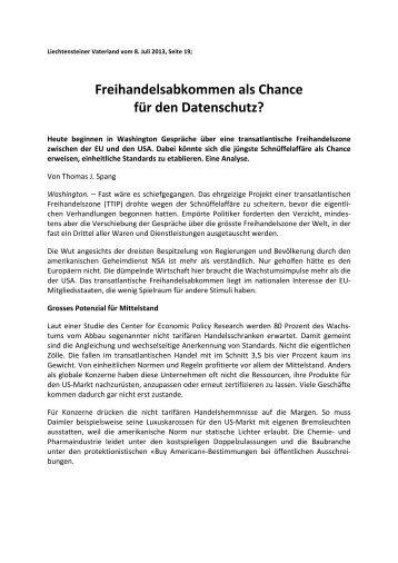 Freihandelsabkommen als Chance für den Datenschutz?
