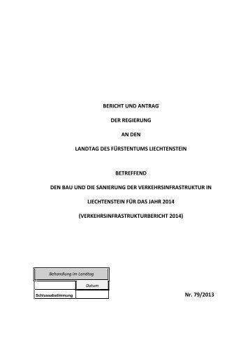 bericht und antrag der regierung an den landtag des fürstentums