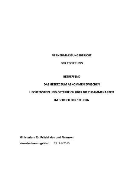 Vernehmlassung - Landesverwaltung Liechtenstein