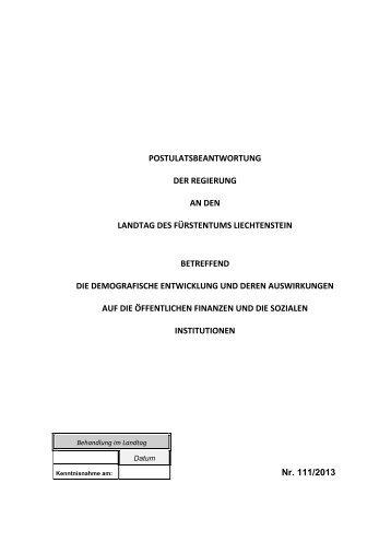 BERICHT UND ANTRAG - Landesverwaltung Liechtenstein