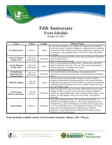 Fifth Anniversay Schedule