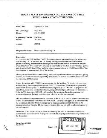 rocky flats environmental technology site regulatorycontactrecord