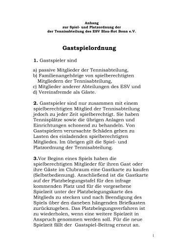 Gastspielordnung 1. - ESV Blau Rot Bonn ev