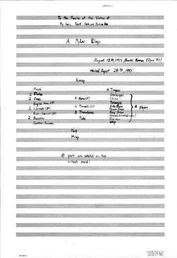 Rosner - A MyLai Elegy, op. 51