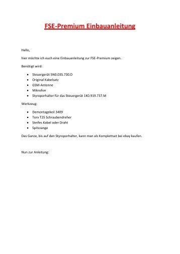 FSE-Premium Einbauanleitung