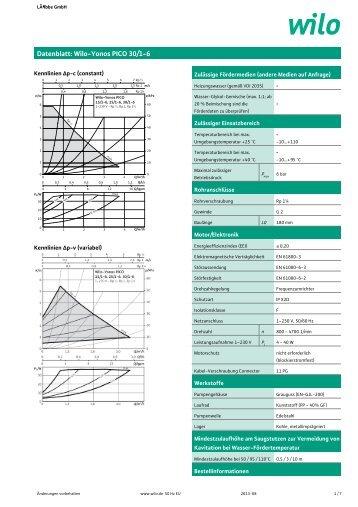 Datenblatt: Wilo-Yonos PICO 30/1-6