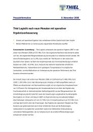 Thiel Logistik nach neun Monaten mit operativer ... - Logwin Logistics