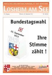 Sonntag, den 22. September 2013 - Gemeinde Losheim am See