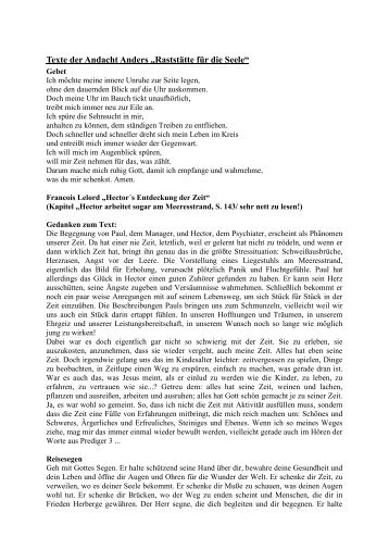 Texte der Andacht Anders - Kirche im Aufbruch