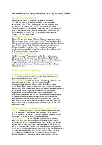 Weiterführende Informationen (Auszug aus den Flyern): - Kirche im ...
