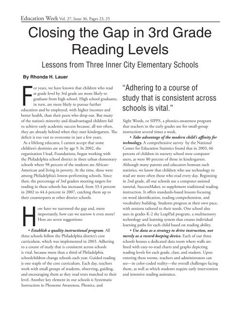 Closing the Gap in 3rd Grade Reading Levels