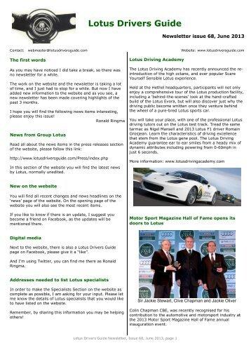 access planned lotus drivers guide rh yumpu com Jaguar Racing Jaguar Racing