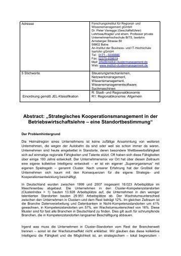 """Abstract: """"Strategisches Kooperationsmanagement in der ..."""
