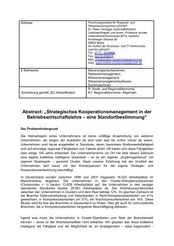 "Abstract: ""Strategisches Kooperationsmanagement in der ..."