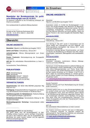 Newsletter der Bundeszentrale vom 02.10.2013