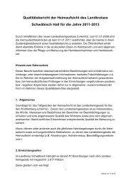 Qualitätsbericht der Heimaufsicht des Landkreises Schwäbsich Hall ...