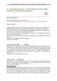 Inhaltsbeschreibung der Angebote -11. Fachtagung Schulsport ...