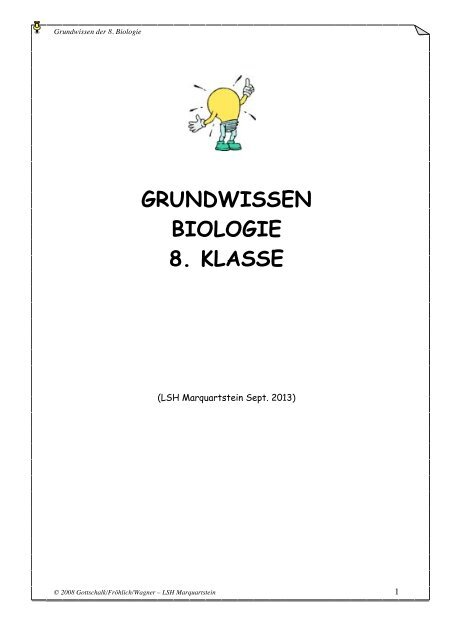 GRUNDWISSEN BIOLOGIE 8. KLASSE - LSH Marquartstein