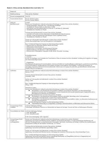 Modul 6: China und das Abendland (Sino CuA) Seite 1/2