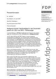 Presseinformation Wolfgang Kubicki: Nachhaltigkeit in der Haushalts