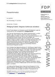 Presseinformation Wolfgang Kubicki: Stegners Auftritt war würdelos!