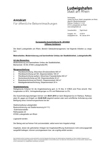 Europaweite Ausschreibung Nr. 2014/024 (Offenes ... - Ludwigshafen
