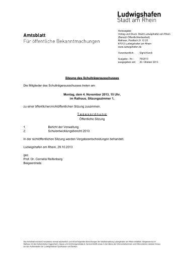 Sitzung des Schulträgerausschusses Die Mitglieder ... - Ludwigshafen