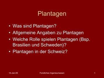 Plantagen - ETH - LUE - ETH Zürich