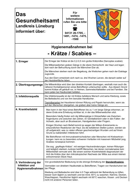 Merkblatt Krätze Scabies Pdf 019 Mb Lüneburg