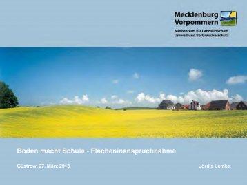 """Vortrag: """"Flächeninanspruchnahme"""" - Mecklenburg-Vorpommern"""