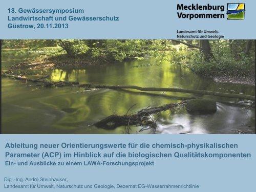 Ableitung neuer Orientierungswerte für die chemisch-physikalischen ...