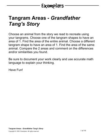 Tangram Areas - Grandfather Tang's Story