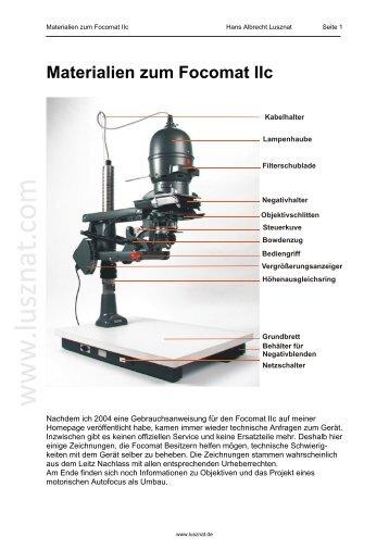 Materialien zum Focomat IIc - Hans Albrecht Lusznat