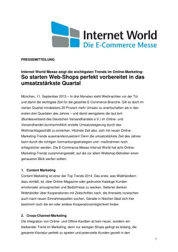 Pressemitteilung vom 11. September 2013 - Internet World
