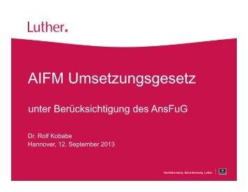 Fachtagung Bankrecht AIFM Umsetzungsgesetz - unter ...