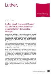 Luther berät Transport Capital AG beim Kauf von zwei Bus ...