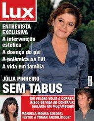 A intervenção estética A doença do pai A polémica na TVI ... - Lux - Iol