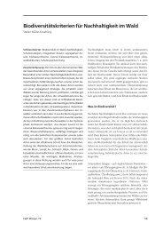 weiterlesen ... Biodiversitätskriterien für Nachhaltigkeit im Wald