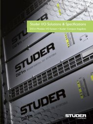 Studer I/O Solutions & Specifications