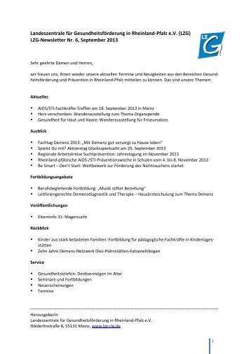 Newsletter Nr. 6 - Landeszentrale für Gesundheitsförderung in ...