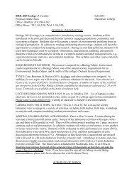 BIOL 285 Ecology (4 Credits) Fall 2013 Professor Mark Davis ...