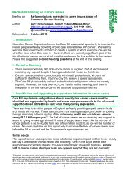 Macmillan Briefing on Carers issues - Macmillan Cancer Support