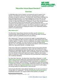 Macmillan Values Based Standard - Macmillan Cancer Support