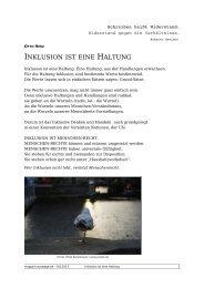 INKLUSION IST EINE HALTUNG - Auswege