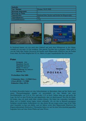 Statistik: Tag / Datum: Montag, 26.05.2008 Reisetage insgesamt: 5 ...