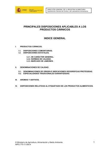 Principales disposiciones aplicables a los productos cárnicos.