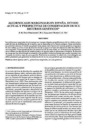 Alcornocales marginales en España. Estado actual y perspectivas ...