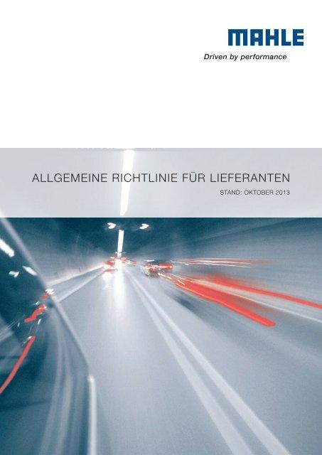 ALLGEMEINE RICHTLINIE FÜR LIEFERANTEN